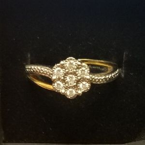Diamond Cluster Ring Flower Two Tone 925 & Gold
